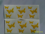 3 x  Yellow butterfy car bumper stickers - 3 different sizes